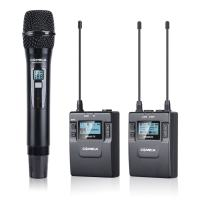 Comica Wireless Handheld Microphone CVM-WM300(B) UHF 96-Channel Zinc Alloy Chargeable Wireless Lavalier Microphone System for Canon 5DIII,6D, Panasonic, XLR Camcorder Camera(394-Foot Range)