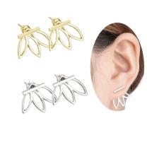 Likgus Lotus Flowers Jacket Earrings, Bar Stud Earrings for Women and Girls(2 Pairs)
