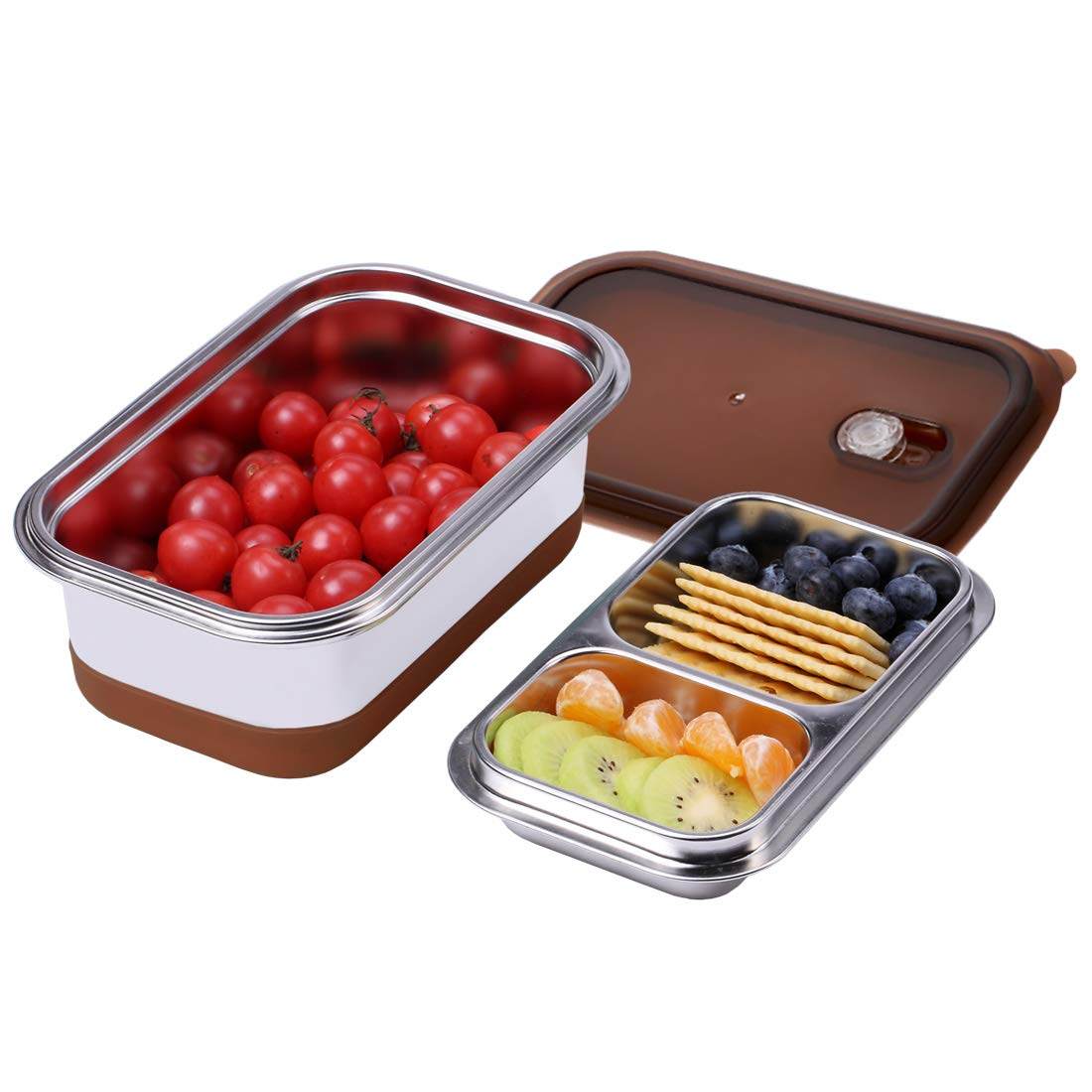 BonNoces Bento Box, SUS 304 18/8 Fine Stainless Steel 2 Layer Lunch Box, 1100 ML/34 OZ Food Storage Container for Adults and Teenagers, Perfect for School, Outing and Picnic (Brown)