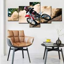 Canvas Wall Art for Living Room Extreme Sport Rider Pictures Red Motor Bike Paintings Multi Panel Prints Artwork Contemporary House Decoartions Framed Gallery-Wrapped Ready to Hang(50''Wx24''H)