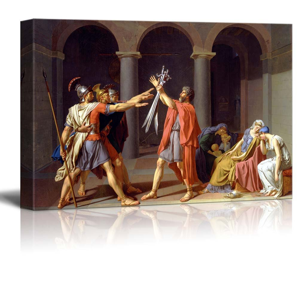 """wall26 - Oath of The Horatii by Jacques-Louis David - Canvas Print Wall Art Famous Painting Reproduction - 24"""" x 36"""""""