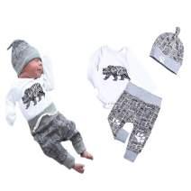 Toddler Baby Boy Clothes Bear Letter Print Romper+ Long Pants+Hat 3PCS Outfits Set