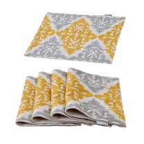 HWY 50 Linen Embroidered Yellow Grey Placemats Place Mats for Dining Table Kitchen Heat Resistant Table Mats 13 x 18 Inches Set of 4 Geometric Floral