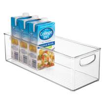 "mDesign Extra Long Plastic Kitchen Pantry, Cabinet, Refrigerator, Freezer Food Storage Organizing Bin Basket with Handles - Organizer for Fruit, Vegetables, Yogurt, Snacks, Pasta - 6"" Wide - Clear"