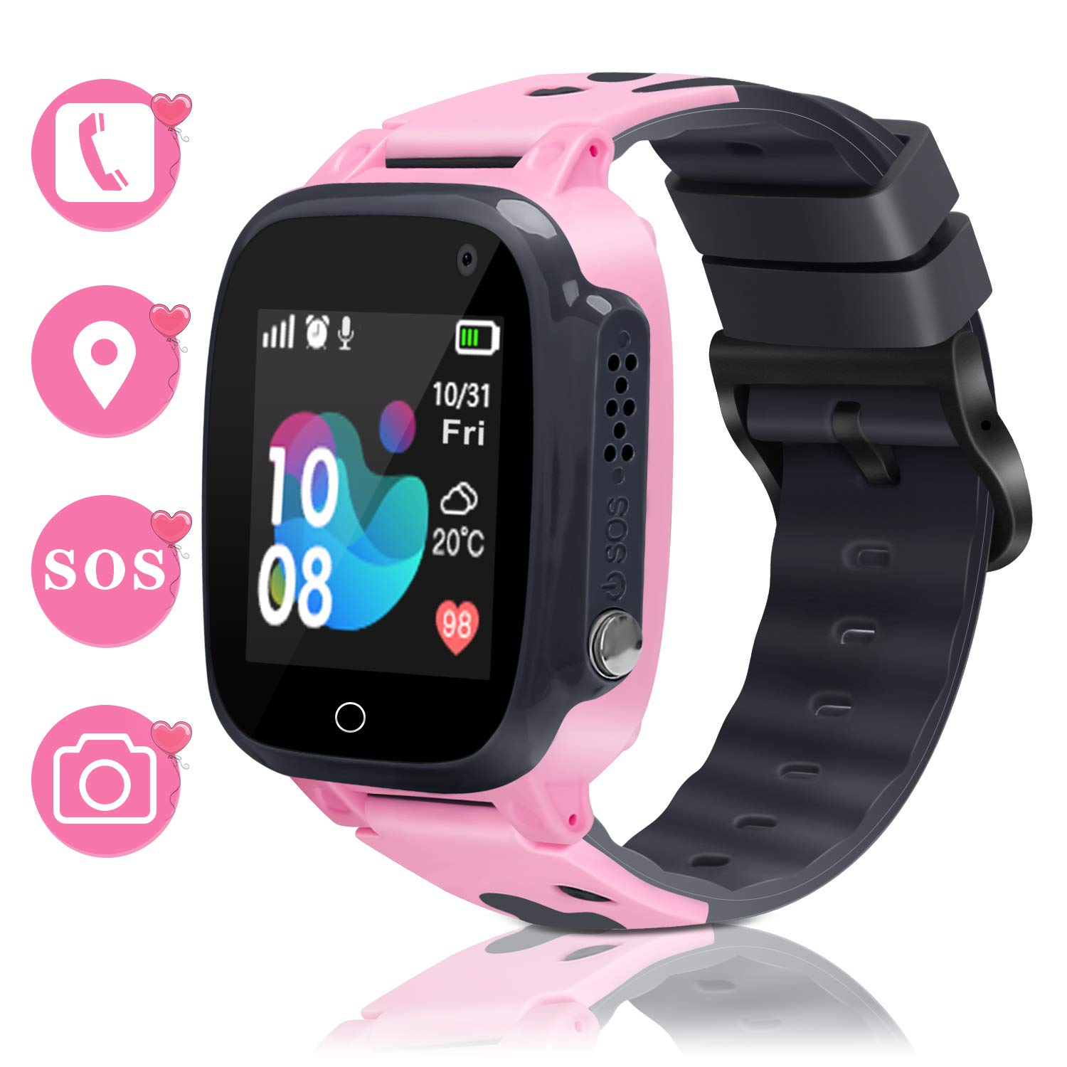 Smart Watch for Kids Smartwatch Phone GPS Watch for Kids Waterproof Watch with SOS Camera Alarm Clock Security Zone Voice Chat Tracker Watch for Kids with Phone Birthday Gifts for Girls Boys Watch