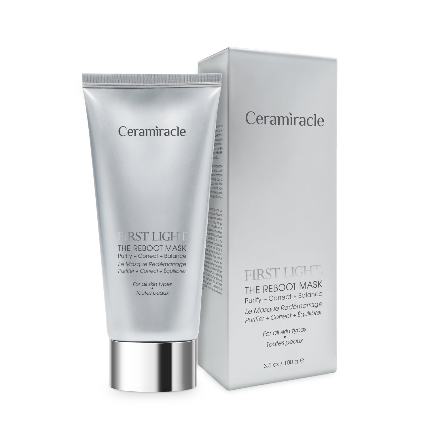 Ceramiracle First Light The Reboot Mask | Gently Revitalizes, Purifies, and Exfoliates | BioFerment Essence, Organic Rice Ferment, Mugwort, Ginseng, Black Volcanic Sand | 3.5 oz