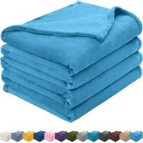 KAWAHOME Flannel Fleece Blanket Lightweight Warm Fuzzy Soft Microfiber Blankets All Season for Bed Couch Sofa Queen Size 90 X 90 Inches Blue Atoll