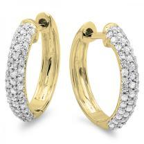 0.50 Carat (ctw) Round White Diamond Ladies Huggies Hoop Earrings