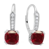 Dazzlingrock Collection 7 MM Each Lab Created Cushion Gemstone & Round Diamond Ladies Drop Earrings, Sterling Silver