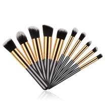 Makeup Brush Set, 10PCs Premium Synthetic Cosmetics Brushes Black Golden Foundation Eyeshadow Face Powder Brush Travel Make-up Brushes Collection