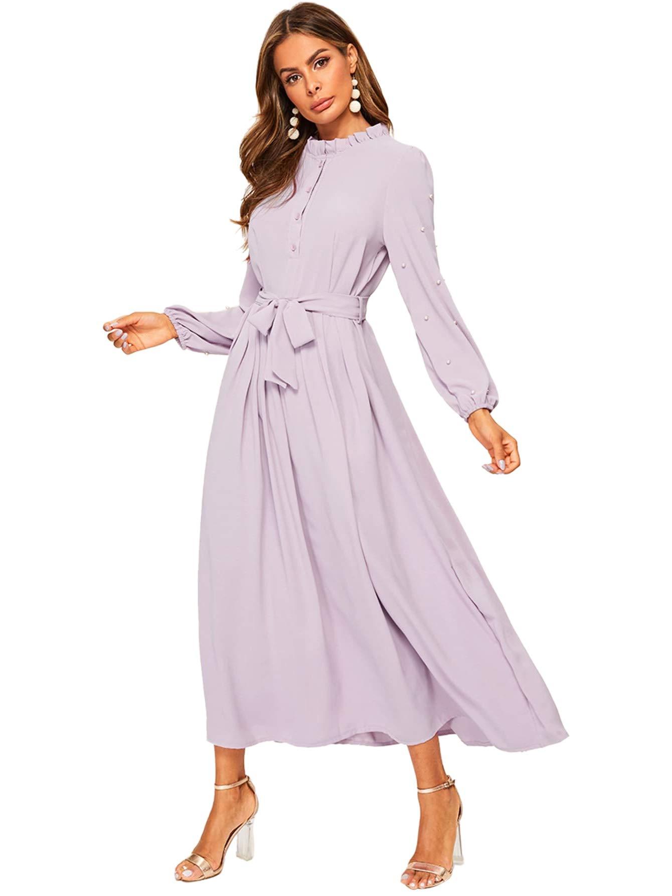 Verdusa Women's Elegant Button Front Pearls Bishop Sleeve Belted Long Dress Purple L