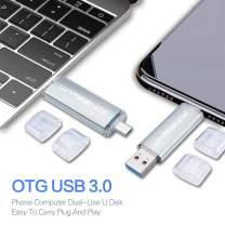 128GB OTG USB Flash Drive Wansenda 2 in 1 USB 3.0 & Micro Port Pen Drive High Speed USB Memory Stick for Android Devices/PC/Tablet/Mac (Silver)