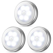 AMIR Motion Sensor Light, Stick-Anywhere Cordless Battery-Powered LED Night Light, Closet Lights,Stair Lights, Tap Lights, Safe Lights for Hallway, Bathroom, Bedroom, Kitchen (White - Pack of 3)