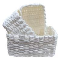 LA JOLIE MUSE Woven Storage Baskets, Recycled Paper Rope Bin Organizer Divider for Cupboards Drawer Closet Shelf Dresser, Set of 3 (White)