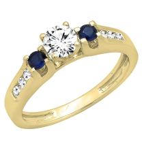 Dazzlingrock Collection 14K Gold Round White & Blue Sapphire & Diamond Bridal Engagement Ring