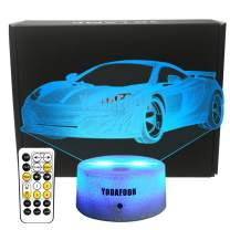 YODAFOOR 3D Night Lights for Kids Baby Teen 3D Toy Car Illusion Lamp, Birthday Party Gift Anniversary Present, Multi Color Remote Lamp Room Bedside Table Desk Decor Nursery Lighting