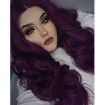 Imstyle Purple Lace Front Wigs For Women Long Wavy Wigs Glueless Costume Synthetic Wig With Natural Hairline 24 Inch