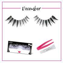 GladGirl | 'December' Strip Lash Kit | 100% Human Hair Lashes On Invisible Band | Handmade & Cruelty-Free Natural False Eyelashes | Reusable with Lash Adhesive & Applicator