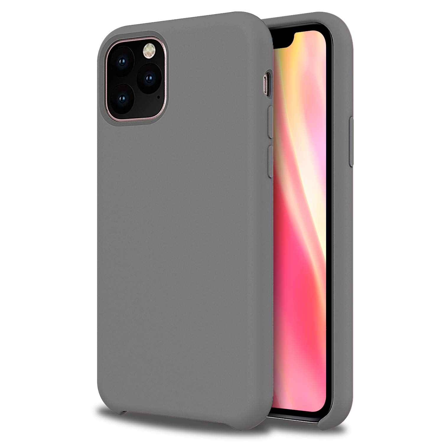 Olixar for iPhone 11 Pro Max Silicone Case Grey - Soft Touch - Smooth Thin Protective Cover - Wireless Charging Compatible - Grey
