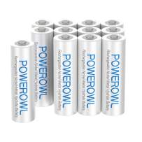 AAA Rechargeable Batteries, POWEROWL High Capacity Triple A Batteries 1000mAh 1.2V NiMH Low Self Discharge HR03, 12 Pack