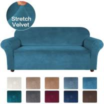 Turquoize Velvet Sofa Slipcover Stretch Large Couch Covers Soft Sofa Cover Furniture Protector with Non Slip Straps, Slipcover for Sofa, Couch Covers for Dogs, Couch Slipcover (XL Sofa, Peacock Blue)
