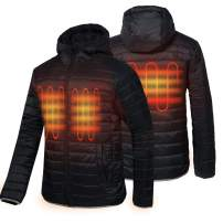CONQUECO Men's Heated Jacket Light Weight Electric Jacket for Waterproof and Windproof in Winter