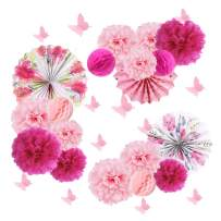 15pcs Wedding Decoration Tea Party Paper Pom Pom Flowers Butterfly Wall Stickers Baby Shower Party Decorations SUNBEAUTY
