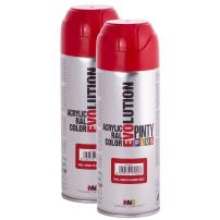 Fast Dry, Low Odor, Low VOC - Acrylic Spray Paint PintyPlus Evolution - Pack of 2 (Flame Red)