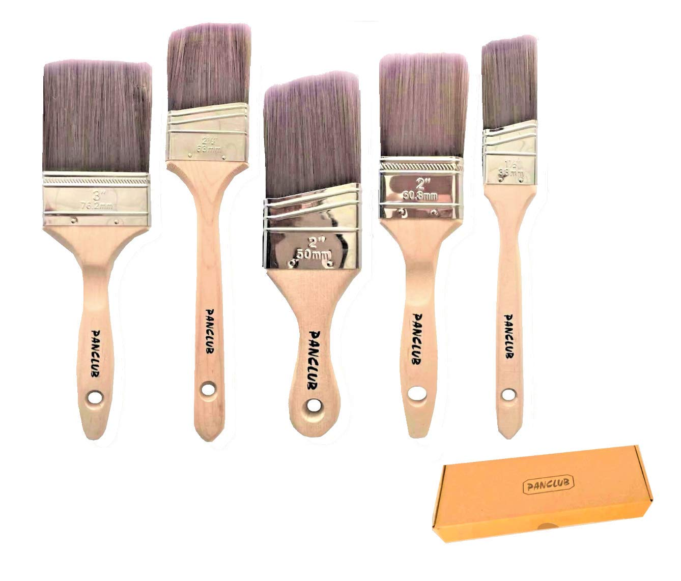 PANCLUB Paint Brushes Set 5 Pcs   2,3 Flat and 1.5,2.5 Angled and 2 Shortcut Angle Sash   Wood Handle, Paint Brushes for Professional Results On Walls, Trim, Cabinets, Doors, Fences, Decks, Touch Ups