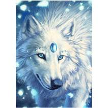 5D Diamond Painting White Ice Wolf Full Drill by Number Kits for Adults, SKRYUIE DIY Rhinestone Pasted Paint with Diamond Set Arts Craft Decorations (12x16inch)
