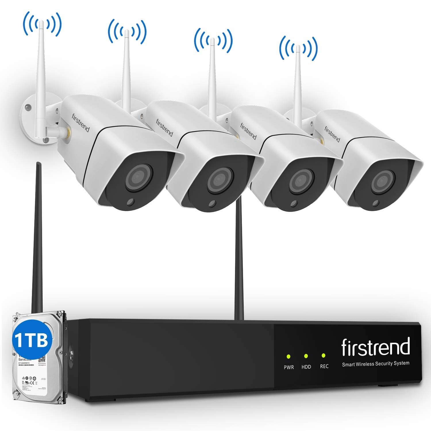 Wireless Security Camera System,Firstrend HD Video Security System with 4PCS 960P IP Security Camera with 1TB Hard Drive Installed Indoor Outdoor IP66 Waterproof 65FT Night Vision
