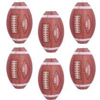 UNIQOOO 6Pcs American Football Paper Lantern Set, Japanese Chinese Sports Lantern Lamps, Easy Assemble Reusable Hanging, Super Bowl Game Fan Birthday Bar Party Favor Home Decor Props, Large 12 Inch