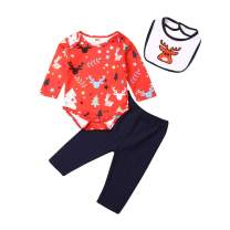 Infant Baby Christmas Outfit Newborn Baby Boy Girl Deer Tree Snowflake Romper Top Red Pants 3Pcs Xmas Clothes Set