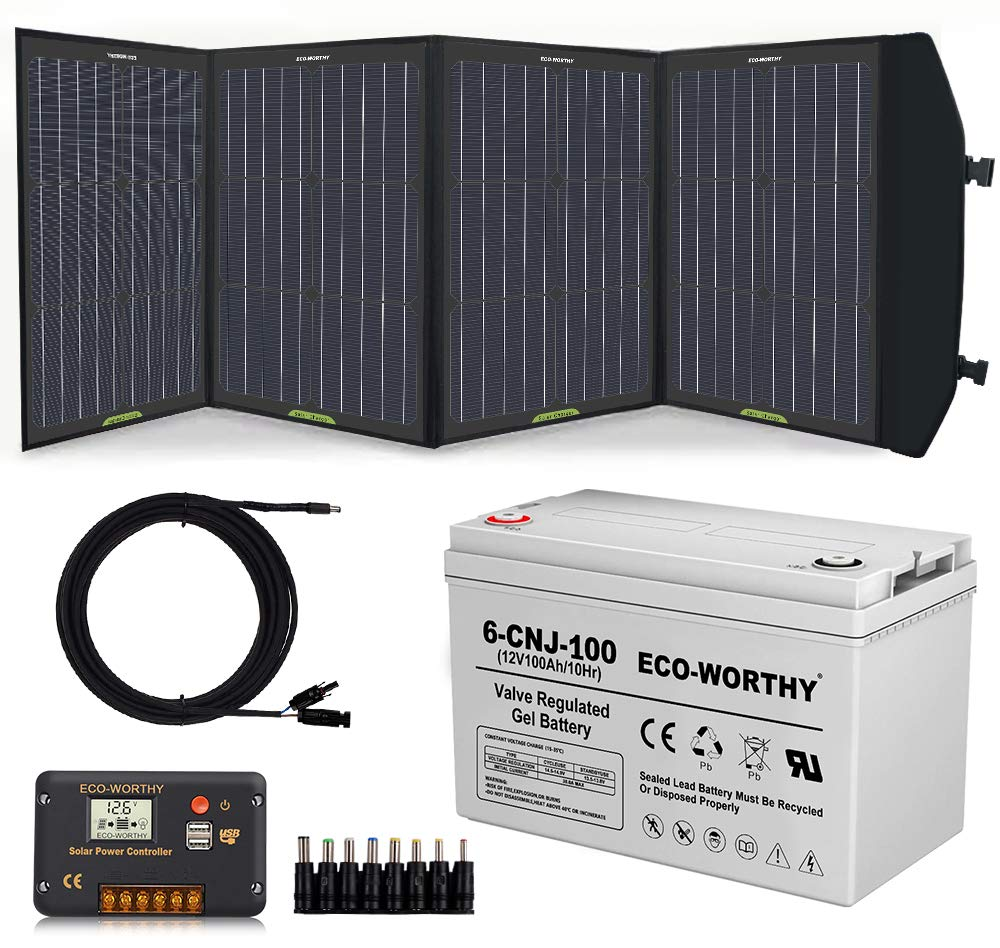 Eco Worthy 120 Watt Complete Off Grid Solar Power Kit 120w Foldable Portable Solar Panel Charger 12v 100ah Deep Cycle Battery 20a Controller Alligator Clips