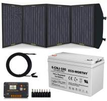 ECO-WORTHY 120 Watt Complete Off Grid Solar Power Kit: 120W Foldable Portable Solar Panel Charger + 12V 100AH Deep Cycle Battery + 20A Controller + Alligator Clips