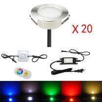 "FVTLED 20pcs Multi-Color RGB 1W LED Deck Light Kit 2-2/5"" Stainless Steel Waterproof IP67 Recessed Outdoor Yard Garden Patio Stairs Landscape Step Lighting"