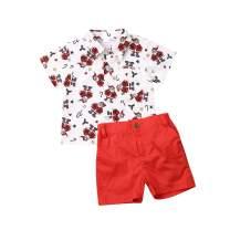 2Pcs Christmas Outfit Toddler Kids Baby Boy Santa Short Sleeve Tops Shirt Shorts Pants Gentleman Clothes Set 1-6 T