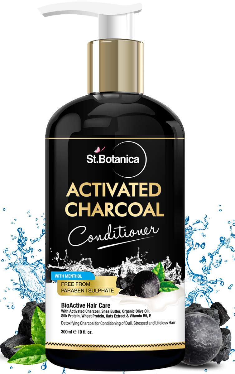 StBotanica Activated Charcoal Hair Conditioner, 300ml - Deeply Purifies and Removes Impurities, Refreshing Menthol with Organic Olive Oil, Shea Butter, Oats & Wheat Protein.
