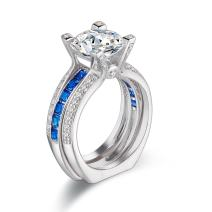 Newshe Wedding Rings for Women Engagement Band Ring Sets 925 Sterling Silver Round Blue Cz Size 5-12