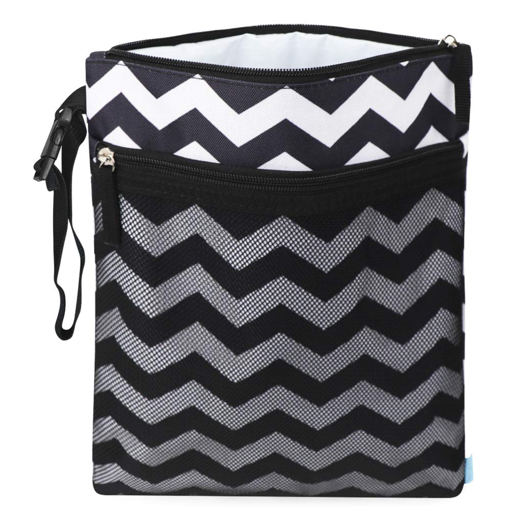 Cloth Diaper Wet Dry Bags, Waterproof Reusable Travel Bags with Two Zippered Pockets, Travel Beach Pool Daycare Soiled Baby Items Yoga Gym Bag for Swimsuits or Wet Clothes (Black)