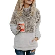 Perfashion Women's Pullover Comfy Sherpa Sweatshirt Long Sleeve Zipper Soft Fleece Cozy Tops Outwear