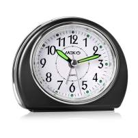 MEKO Alarm Clocks for Bedrooms, Small Battery Powered Travel Clock with Snooze and Nightlight, Silent No Ticking Bedside Clock(Black)