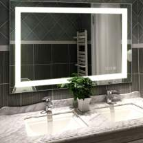 HAUSCHEN HOME 48x36 inch LED Lighted Vanity Bathroom Mirror, Wall Mounted + Anti Fog & Dimmer Touch Switch + UL Listed + IP44 Waterproof + 5500K Cool White +3000K Warm + CRI>90 + Vertical&Horizontal