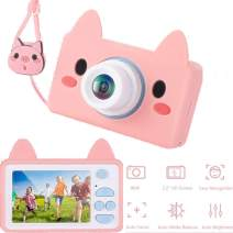 Kids Camera 16MP 1080P HD Video Digital Camera Children Camcorder with 32GB MicroSD Card, Animal Case & Hanging Rope & Cartoon Stickers Gifts for Boys Girls [Piggy]