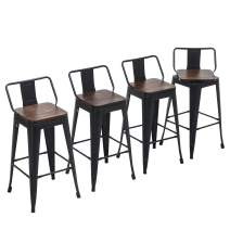 """Yongchuang Metal Counter Bar Stools with Low Back Wooden Seat (Set of 4) (Swivel 26"""", Black)"""