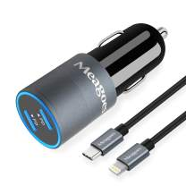 Meagoes USB C Fast Car Charger, Compatible for iPhone 11 Pro Max/11 Pro/11/XS MAX/XS/XR/X/8 Plus/8/iPad Mini 5/Air 3, Dual 18W Power Delivery Ports Adapter with 3.3ft MFi Certified Lightning Cable