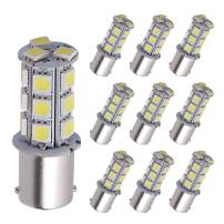 YITAMOTOR 1156 LED Bulb Cool White, 1156 1141 1003 BA15S RV Interior LED Replacement Light Bulb for Camper Car Truck, 18-SMD, 12V-24V, 10-Pack