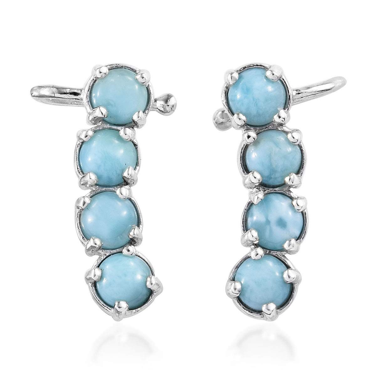 925 Sterling Silver Platinum Plated Larimar Blue Ear Cuff Wrap Crawler Climber Earrings for Women Mothers Day Gifts