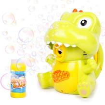 Kulariworld Bubble Machine, Automatic Durable Dinosaur Bubble Gun Bubble Maker Outdoor Bubble Blower for Kids Boys Girls with 1000+ Bubbles per Minute (Solution Included)