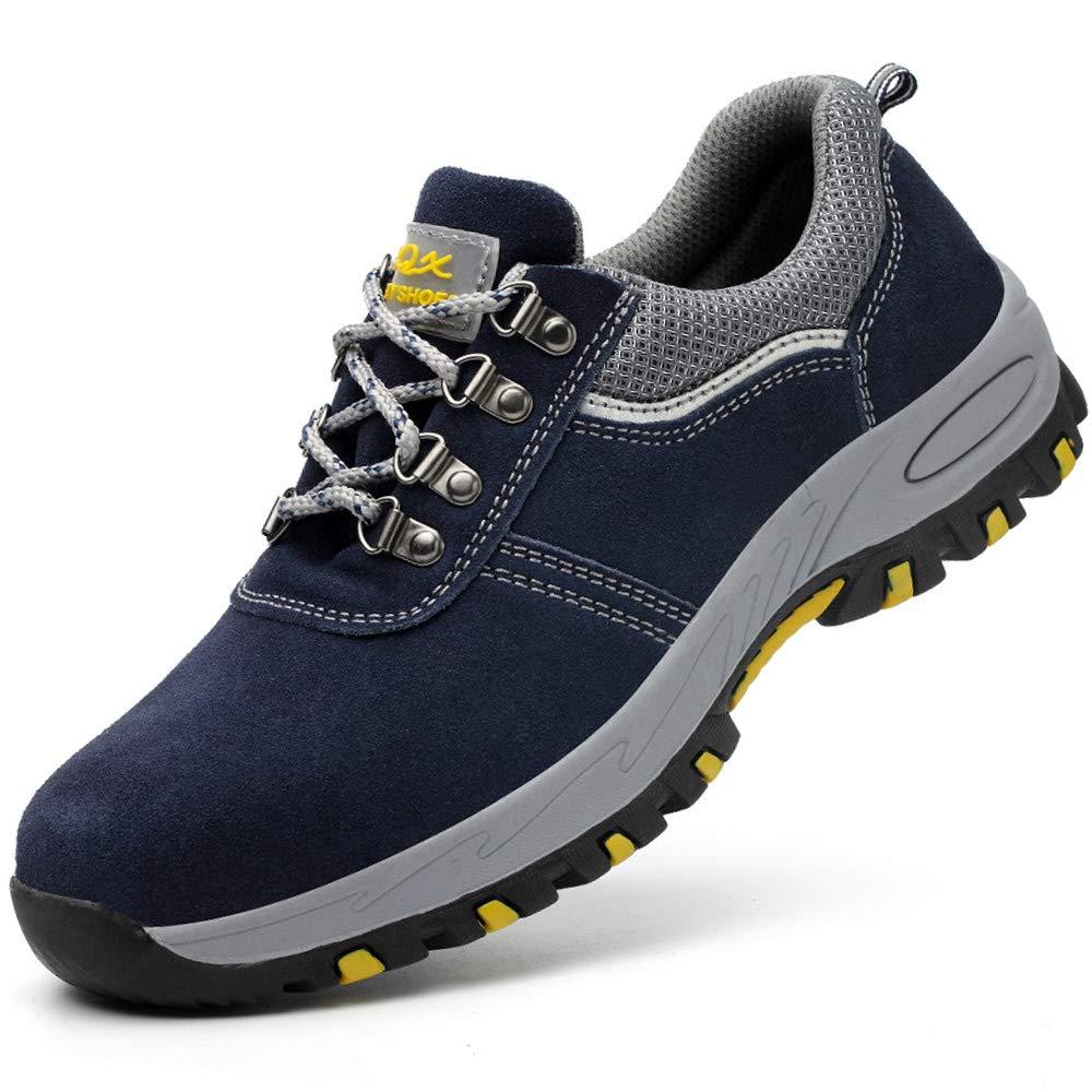 Jabasic Mens Construction Safety Work Shoes Slip Resistant Steel Toe Sneakers